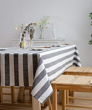 Aquazolax Weights Farmhouse Tablecloth Rustic Wedding Parties Stripe Pattern Table OverlayDecorations 54 X 84 Inch Black 0 2 300x360