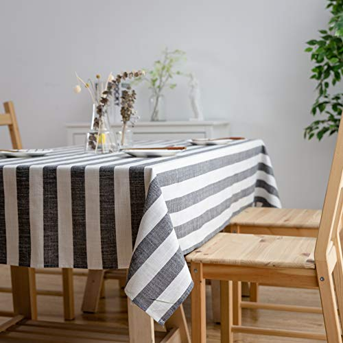 Aquazolax Weights Farmhouse Tablecloth Rustic Wedding Parties Stripe Pattern Table OverlayDecorations 54 X 84 Inch Black 0 2