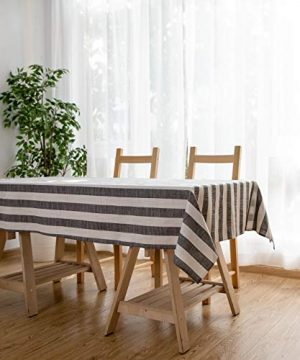 Aquazolax Weights Farmhouse Tablecloth Rustic Wedding Parties Stripe Pattern Table OverlayDecorations 54 X 84 Inch Black 0 3 300x360
