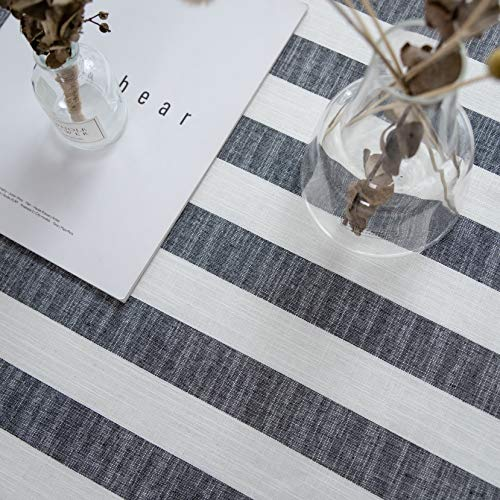 Aquazolax Weights Farmhouse Tablecloth Rustic Wedding Parties Stripe Pattern Table OverlayDecorations 54 X 84 Inch Black 0 4