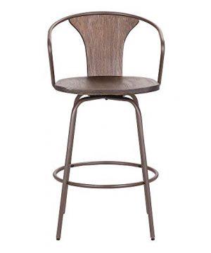 Armen Living Payton Industrial Wood And Steel Swivel Kitchen Barstool 30 Bar Height Walnut 0 0 300x360