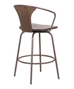 Armen Living Payton Industrial Wood And Steel Swivel Kitchen Barstool 30 Bar Height Walnut 0 2 300x360