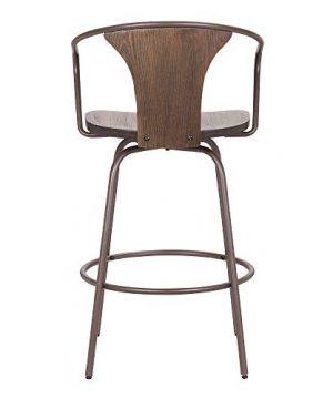 Armen Living Payton Industrial Wood And Steel Swivel Kitchen Barstool 30 Bar Height Walnut 0 3 300x360