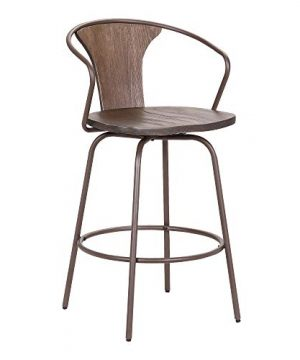 Armen Living Payton Industrial Wood And Steel Swivel Kitchen Barstool 30 Bar Height Walnut 0 300x360
