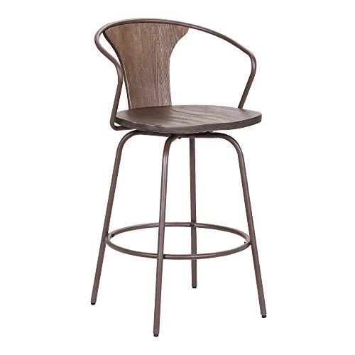 Armen Living Payton Industrial Wood And Steel Swivel Kitchen Barstool 30 Bar Height Walnut 0