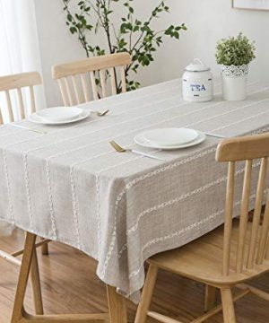 ArtBud Cotton Linen Table Cloth Stitching Burlap Oval Rectangle Tablecloth Heavy Weight Soft Fabric 6 Foot Table Cover Tabletop Easter Farmhouse Kitchen Dinning Party Decoration 53704 6 Seats 0 300x360