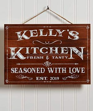Artblox Personalized Wooden Kitchen Wall Decor Farmhouse Kitchen Decor Last Name Signs For Home Family Sign Housewarming Gifts Wedding Gift 13x9 Brown 0 300x360