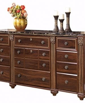 Ashley Furniture Signature Design Gabriela Dresser 9 Drawers Traditional Replicated Mahogany Grain Dark Reddish Brown 0 300x360