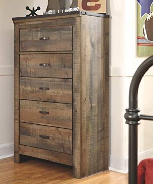 Ashley Furniture Signature Design Trinell Chest 5 Drawers Nailhead Accents Rustic Brown Finish Antiqued Bronze Hardware 0 0 300x360