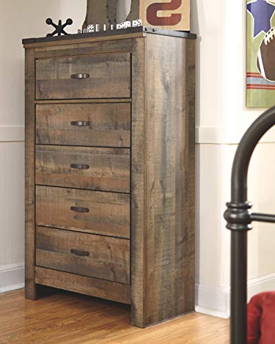 Ashley Furniture Signature Design Trinell Chest 5 Drawers Nailhead Accents Rustic Brown Finish Antiqued Bronze Hardware 0 0