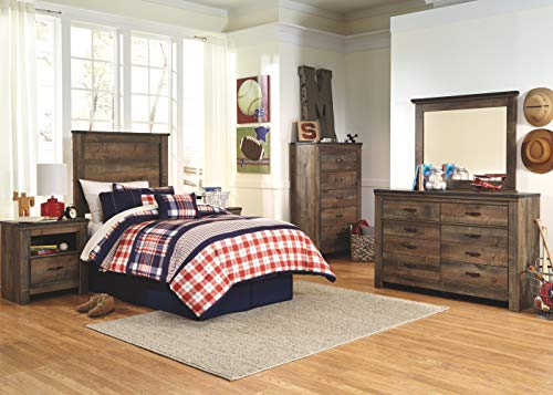 Ashley Furniture Signature Design Trinell Chest 5 Drawers Nailhead Accents Rustic Brown Finish Antiqued Bronze Hardware 0 3
