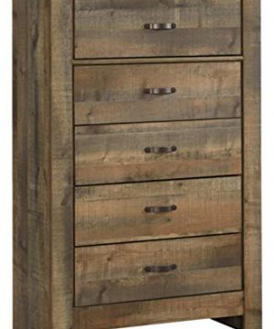 Ashley Furniture Signature Design Trinell Chest 5 Drawers Nailhead Accents Rustic Brown Finish Antiqued Bronze Hardware 0 300x360