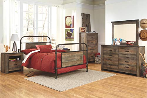 Ashley Furniture Signature Design Trinell Chest 5 Drawers Nailhead Accents Rustic Brown Finish Antiqued Bronze Hardware 0 4