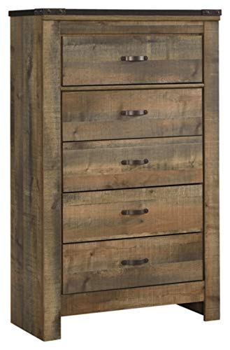 Ashley Furniture Signature Design Trinell Chest 5 Drawers Nailhead Accents Rustic Brown Finish Antiqued Bronze Hardware 0