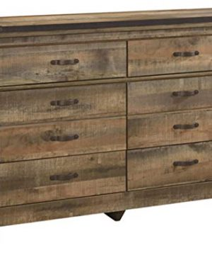 Ashley Furniture Signature Design Trinell Dresser Casual 6 Drawers Rustic Brown Finish Nailhead Accents Antiqued Bronze Hardware 0 300x360