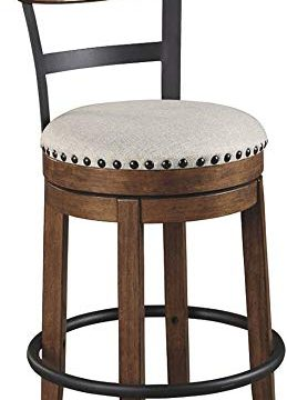 Ashley Furniture Signature Design Valebeck Upholstered Swivel Barstool Casual Style Light Brown 0 259x360