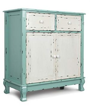 BELLEZE Rustic Wood Cabinet With Drawers And Doors Vintage Traditional Accent Storage Chest For Entryway Living Room Sea Foam Green 0 300x360