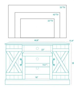 BELLEZE Rustic Wood TV Stand For TVs Up To 50 Living Room Storage Sargent Oak 0 4 300x360