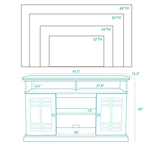 BELLEZE TV Stand Media Console Table Living Room Storage WElectric Fireplace Espresso 0 3