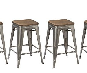 BTEXPERT 24 Inch Industrial Stackable Tabouret Metal Vintage Antique Style Clear Brush Distressed Counter Bar Stool Modern Wood Top Seat Set Of 4 Barstool 0 300x253