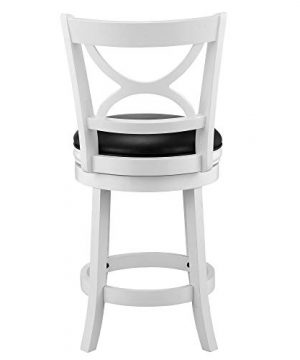 Ball Cast Jayden Hardwood Counter Height Swivel Bar Stool With Faux Leather Upholstery 24 Inch Farmhouse White 0 1 300x360