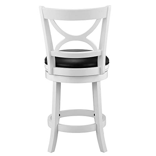 Ball Cast Jayden Hardwood Counter Height Swivel Bar Stool With Faux Leather Upholstery 24 Inch Farmhouse White 0 1