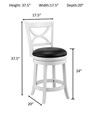 Ball Cast Jayden Hardwood Counter Height Swivel Bar Stool With Faux Leather Upholstery 24 Inch Farmhouse White 0 2 300x360