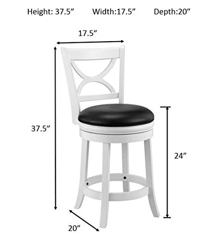 Ball Cast Jayden Hardwood Counter Height Swivel Bar Stool With Faux Leather Upholstery 24 Inch Farmhouse White 0 2