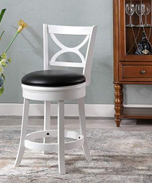 Ball Cast Jayden Hardwood Counter Height Swivel Bar Stool With Faux Leather Upholstery 24 Inch Farmhouse White 0 3 300x360