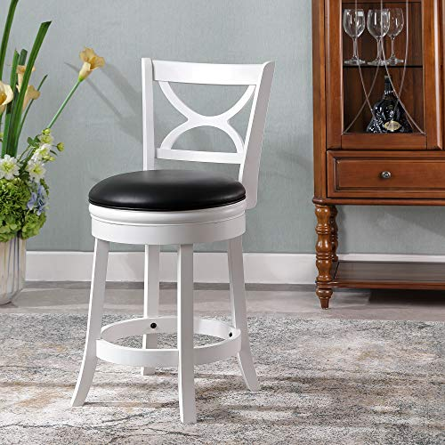 Ball Cast Jayden Hardwood Counter Height Swivel Bar Stool With Faux Leather Upholstery 24 Inch Farmhouse White 0 3