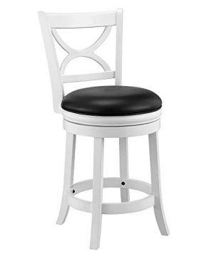 Ball Cast Jayden Hardwood Counter Height Swivel Bar Stool With Faux Leather Upholstery 24 Inch Farmhouse White 0 300x360