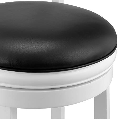 Ball Cast Jayden Hardwood Counter Height Swivel Bar Stool With Faux Leather Upholstery 24 Inch Farmhouse White 0 4