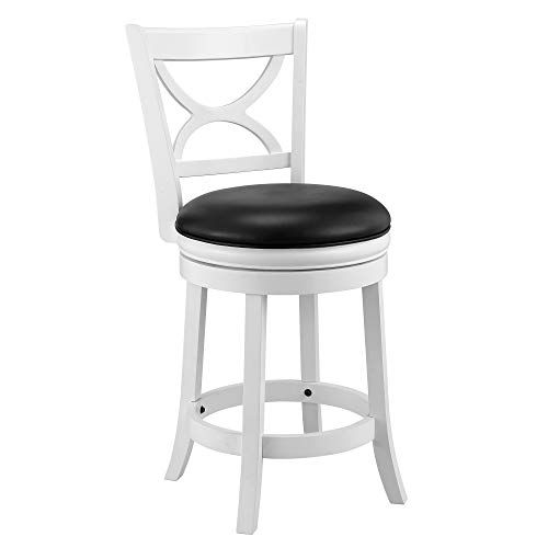 Ball Cast Jayden Hardwood Counter Height Swivel Bar Stool With Faux Leather Upholstery 24 Inch Farmhouse White 0