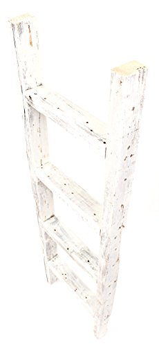 BarnwoodUSA Rustic Farmhouse Decorative Ladder Our 4ft 2x3 Ladder Can Be Mounted Horizontally Or Vertically Crafted From 100 Recycled And Reclaimed Wood No Assembly Required White 0 0