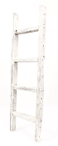 BarnwoodUSA Rustic Farmhouse Decorative Ladder Our 4ft 2x3 Ladder Can Be Mounted Horizontally Or Vertically Crafted From 100 Recycled And Reclaimed Wood No Assembly Required White 0