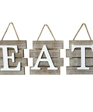 Barnyard Designs Eat Sign Wall Decor Rustic Farmhouse Decoration For Kitchen And Home Decorative Hanging Wooden Letters Country Wall Art Distressed Brown And White 24 X 8 0 300x360