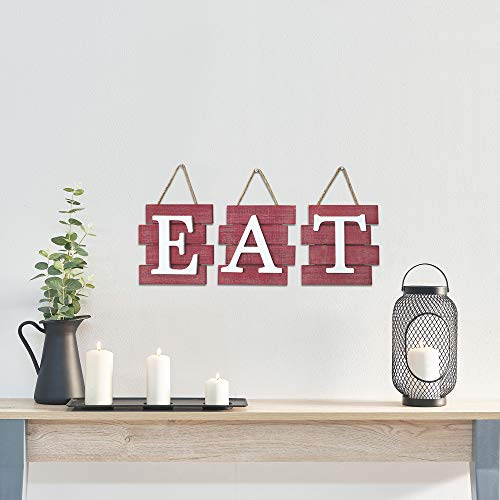 Home Decor 24 X 8 Country Wall Art Decorative Hanging Wooden Letters Barnyard Designs Eat Sign Wall Decor Rustic Farmhouse Decoration For Kitchen And Home Distressed Brown And White Home Kitchen