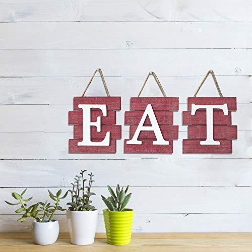 Barnyard Designs Eat Sign Wall Decor Rustic Farmhouse Decoration For Kitchen And Home Decorative Hanging Wooden Letters Country Wall Art Distressed Red And White 24 X 8 0 1