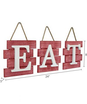 Barnyard Designs Eat Sign Wall Decor Rustic Farmhouse Decoration For Kitchen And Home Decorative Hanging Wooden Letters Country Wall Art Distressed Red And White 24 X 8 0 3 300x360