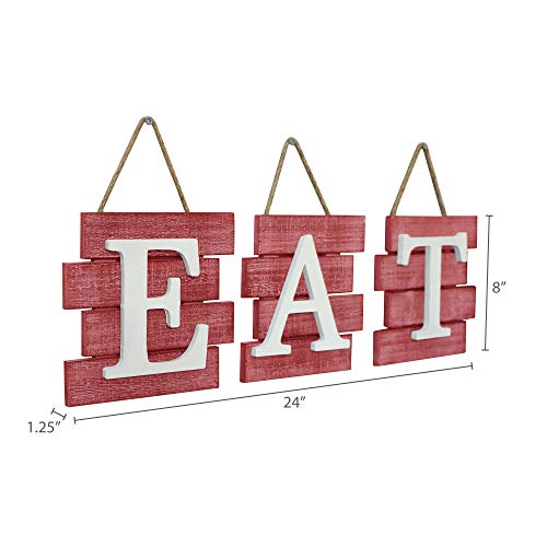 Barnyard Designs Eat Sign Wall Decor Rustic Farmhouse Decoration For Kitchen And Home Decorative Hanging Wooden Letters Country Wall Art Distressed Red And White 24 X 8 0 3