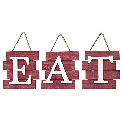 Barnyard Designs Eat Sign Wall Decor Rustic Farmhouse Decoration For Kitchen And Home Decorative Hanging Wooden Letters Country Wall Art Distressed Red And White 24 X 8 0