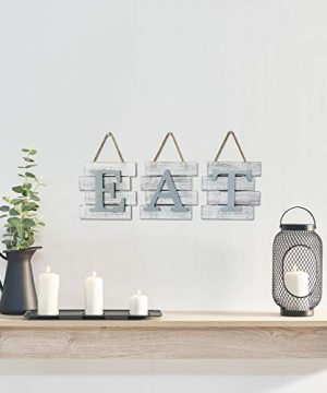 Barnyard Designs Eat Sign Wall Decor Rustic Farmhouse Decoration For Kitchen And Home Decorative Hanging Wooden Letters Country Wall Art Distressed White And Gray 24 X 8 0 0 300x360