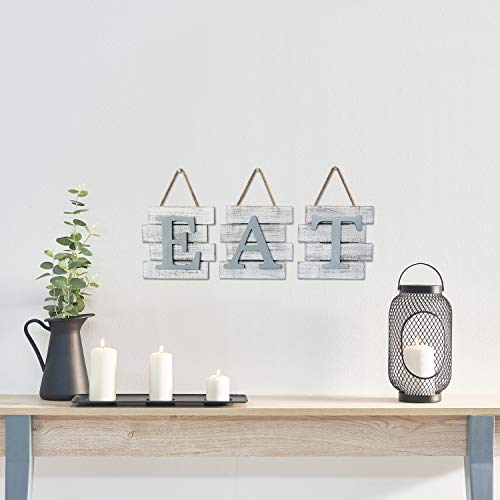 Barnyard Designs Eat Sign Wall Decor Rustic Farmhouse Decoration For Kitchen And Home Decorative Hanging Wooden Letters Country Wall Art Distressed White And Gray 24 X 8 0 0
