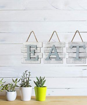 Barnyard Designs Eat Sign Wall Decor Rustic Farmhouse Decoration For Kitchen And Home Decorative Hanging Wooden Letters Country Wall Art Distressed White And Gray 24 X 8 0 1 300x360