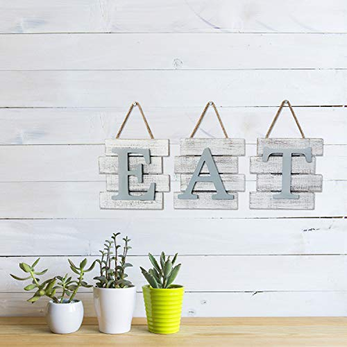 Barnyard Designs Eat Sign Wall Decor Rustic Farmhouse Decoration For Kitchen And Home Decorative Hanging Wooden Letters Country Wall Art Distressed White And Gray 24 X 8 0 1