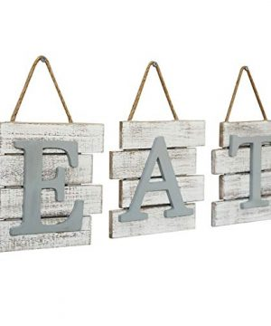 Barnyard Designs Eat Sign Wall Decor Rustic Farmhouse Decoration For Kitchen And Home Decorative Hanging Wooden Letters Country Wall Art Distressed White And Gray 24 X 8 0 2 300x360