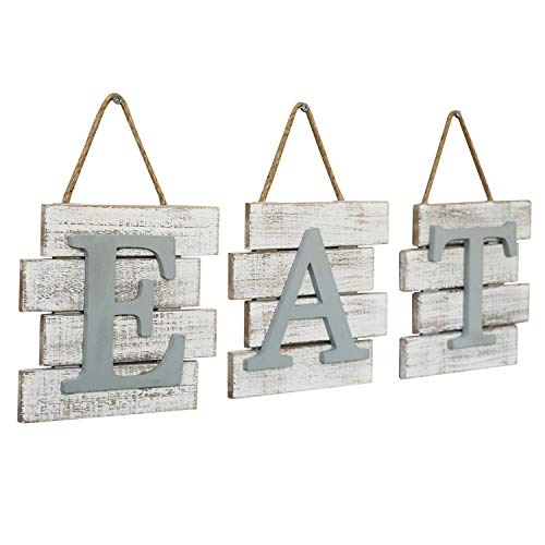 Barnyard Designs Eat Sign Wall Decor Rustic Farmhouse Decoration For Kitchen And Home Decorative Hanging Wooden Letters Country Wall Art Distressed White And Gray 24 X 8 0 2
