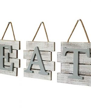 Barnyard Designs Eat Sign Wall Decor Rustic Farmhouse Decoration For Kitchen And Home Decorative Hanging Wooden Letters Country Wall Art Distressed White And Gray 24 X 8 0 3 300x360