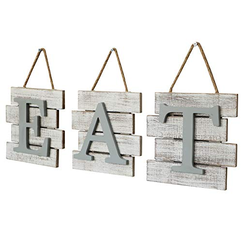 Barnyard Designs Eat Sign Wall Decor Rustic Farmhouse Decoration For Kitchen And Home Decorative Hanging Wooden Letters Country Wall Art Distressed White And Gray 24 X 8 0 3