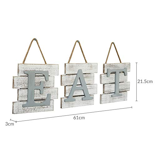 Barnyard Designs Eat Sign Wall Decor Rustic Farmhouse Decoration For Kitchen And Home Decorative Hanging Wooden Letters Country Wall Art Distressed White And Gray 24 X 8 0 4
